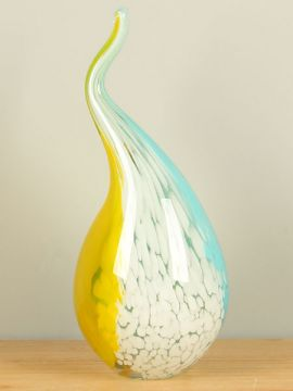 Objekt Glas gelb/blau/weiß