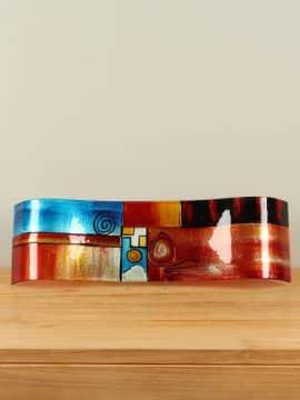 Schale Glas wellenförmig und farbig SCG-5006