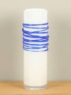 Vase Glas Spirale weiß/blau 29 cm