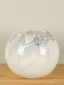Vase 17 cm. Glas schwarz/weiß