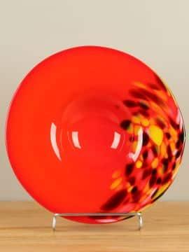 Glas Schale rot/orange A011