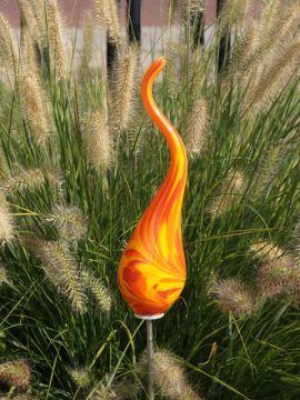Gartenstecker aus Glas Miniflamme-XS Orange 105 M