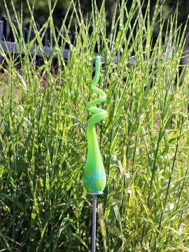 Gartenstecker aus Glas Spirale Lime 106-1