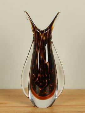 Vase Glas braun/schwarz 30 cm