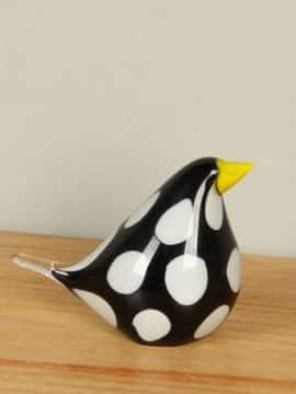 Vogel schwarz/weiß aus Glas 12 cm