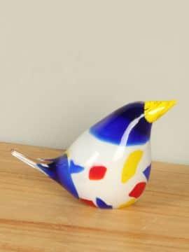 Vogel grundfarben aus Glas 12 cm
