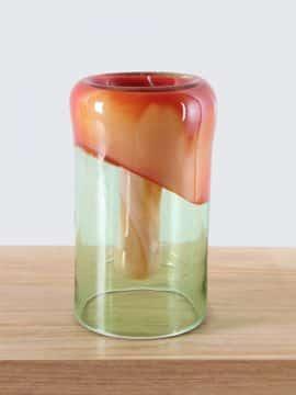 Orange Green Down Glas