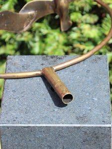 3 Gänse im Kreis Bronze inkl. Hartstein Säule 12x12x80 cm verwendet als Urne
