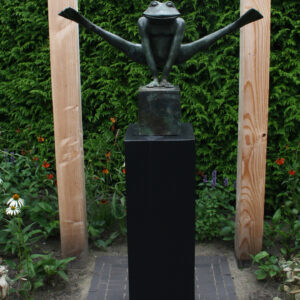 Bronzen kikker XXL groen